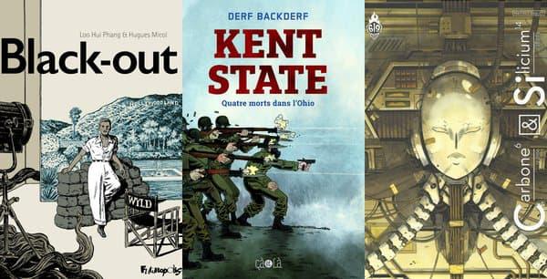 """Les couvertures de """"Black-out"""", """"Kent State"""" et """"Carbone et Silicium"""""""