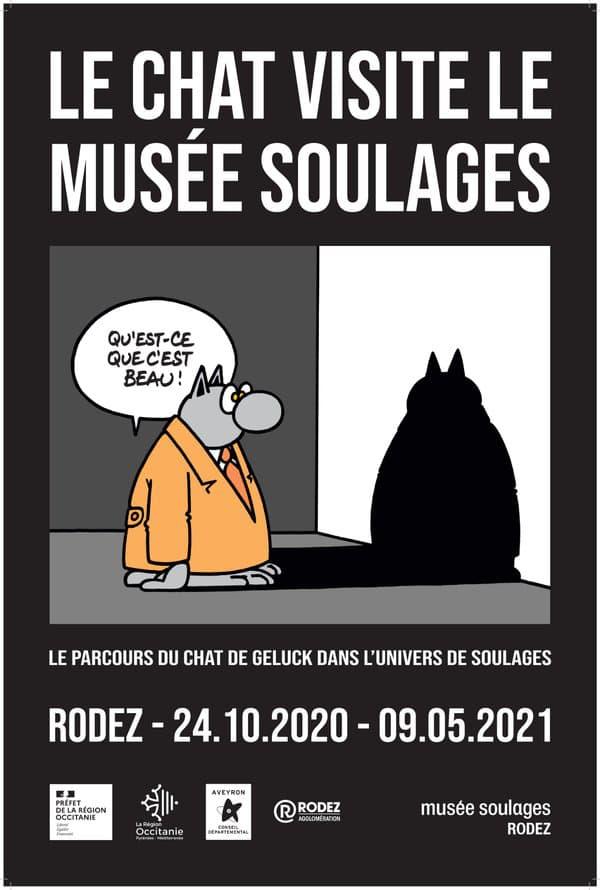 Affiche de l'exposition du Chat de Geluck au musée Soulages