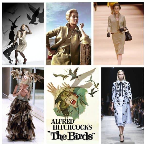 Un extrait et l'affiche des Oiseaux (centre). Des défilés Galliano, Alexander McQueen, Rochas.