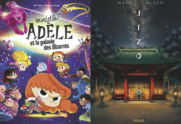 """Couvertures des deux nouveaux livres de Mr. Tan, """"Mortelle Adèle"""" et Jizo"""""""