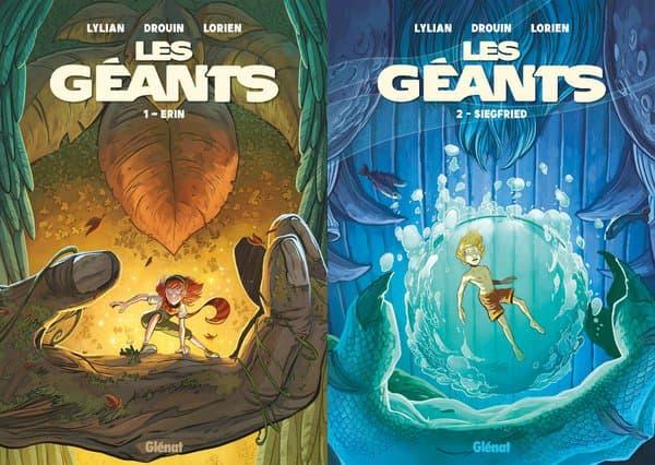 """Couvertures des deux premiers tomes de la BD """"Les Géants"""""""