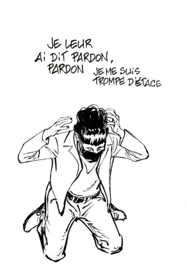 """Coco dessinée par François Boucq lors du procès de l'attentat de """"Charlie Hebdo"""""""