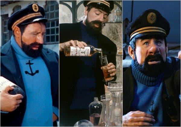 Le Capitaine Haddock interprété au cinéma par Georges Wilson, Jean Bouise et Andy Serkis