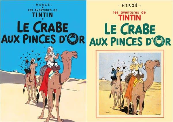 """Les couvertures des deux éditions du """"Crabe aux pinces d'or"""" de Hergé"""
