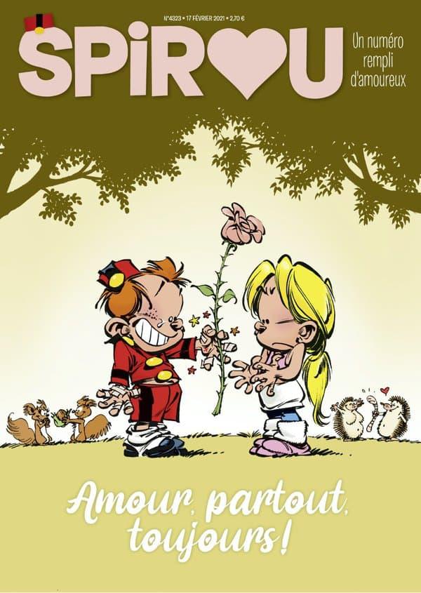 """La couverture du magazine """"Spirou"""", avec la nouvelle histoire du """"Petit Spirou"""""""