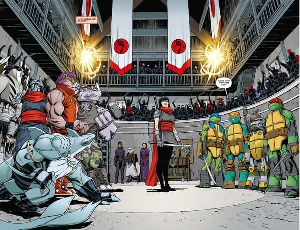 """Une planche du comics """"Les Tortues Ninja - Vengeance Partie 2"""" de Kevin Eastman, Tom Waltz, Cory Smith et Mateus Santolouco"""