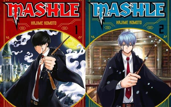 """Couvertures des deux premiers tomes de """"Mashle"""""""